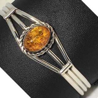 "Estate Vintage designer Thomas Valencia Amber cuff bracelet for slim wrist 6""to 6.5"""