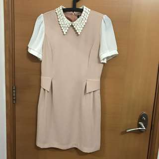 Spicy Color Peach Dress With Lacy Collars Free Size