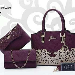 Guess 3 in 1 Handbags Purple Color