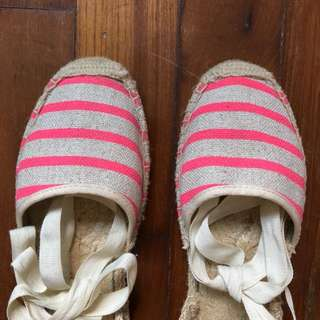 SOLUDOS espardilles beige neon pink stripe