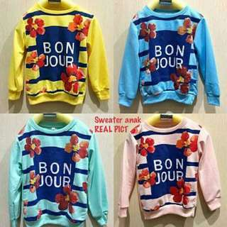 Sweater anak tebal bonjour 2-4th