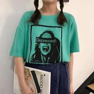 green harujuku ulzzang graphic tee top shirt | PO