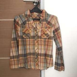 Forever 21 Orange Plain Shirt
