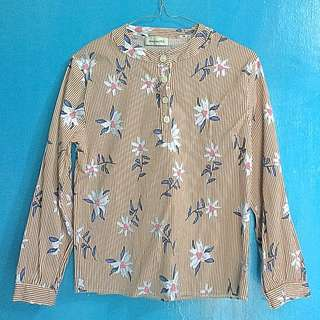 Brown vertical stripes flower blouse