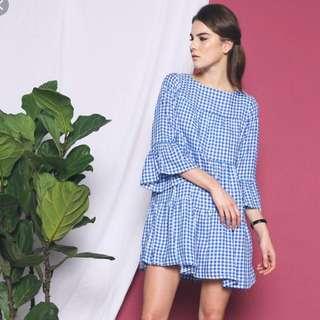 Hollyhoque chevron picnic dress blue