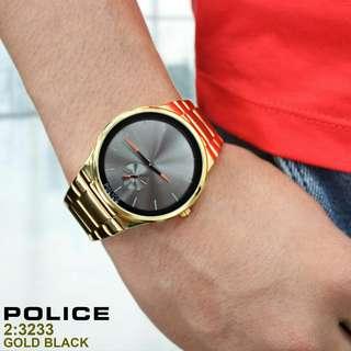 JAM MEREK POLICE 270rb SERI: 3233 KUALITAS: SEMPREM TALI: RANTAI DIAMETER: 4cm FREE BOX POLOS