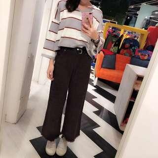 短版寬口上衣+彈性牛仔黑褲裙or咖啡燈芯絨直筒寬褲