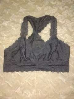 M: FELINA LINGERIE grey lace embroidered bralette