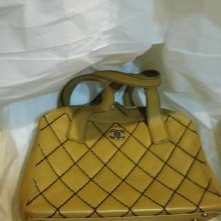 CHANEL VINTAGE CAMEL LAMBSKIN LEATHER