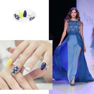 Elegant Fashion Daisy Printing Fake Nail Tips 24PCS/set Finished False Stiletto Nail Acrylic Design Almond Full False Nail Tips