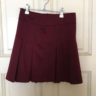Maroon Pleated Skorts