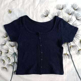 💟 Dark Blue Knitted Crop Top