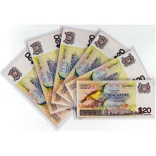 Clearance Sales: Singapore Bird Series $20 banknotes