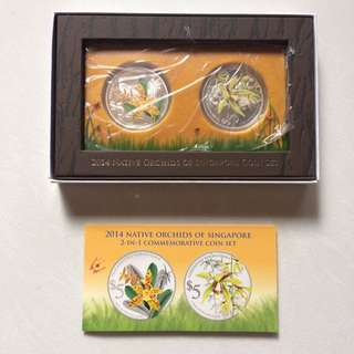 Coins - Singapore 2014 - Native Orchids 2-in-1 Silver Proof Coins)