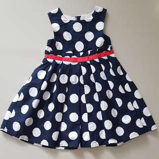 Dress polkadot navy blue anak cewek 3th