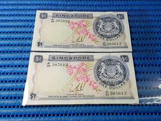 2X Singapore Orchid Series  $1 Note A/30 205612 - 205613 Run Dollar Banknote Currency LKS
