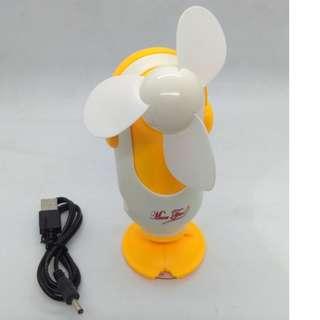 Handy Rechargeable mini fan USB modern design (Yellow)