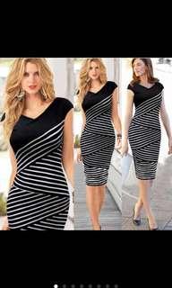 Sexy Hip Stripe Pencil Dress