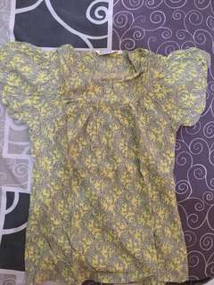 blouse flower yellow mint