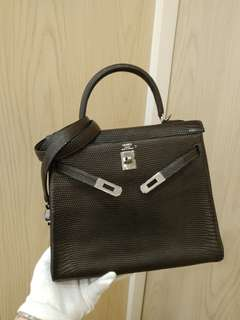 Hermes kelly 25 lizard in brown
