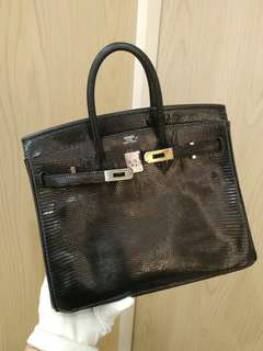 Hermes birkin 25 in black lizard