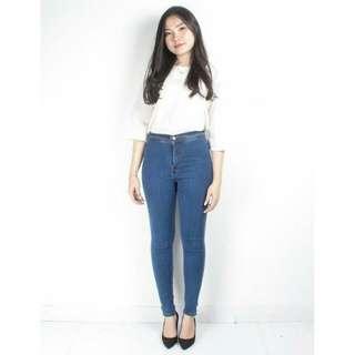 Plain Skinny Jeans Med Blue