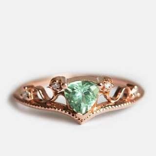 Mint Green Tourmaline Rose Gold Art Deco Engagement Ring (PRE-ORDER)