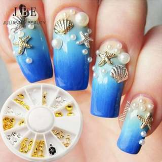 1 Box/Lot New Sea Style Shell Starfish Mix Design 3D Alloy Nail Art Rhinestone Studs Decoration Wheel Set DIY Charm Nail Tools