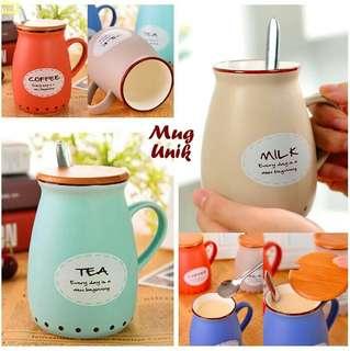 Mug Keramik Lucu Motif Milk Pastel - Tahan Panas & Dingin