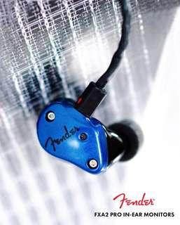 勁減 全新 Fender FXA2 藍黑2色 動圈單元 Bass 低音突出 可以換線 MMCX 插頭 美國造