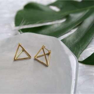 Trinity Triangle Earrings (Gold)