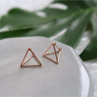 Trinity Triangle Earrings (Rose gold)