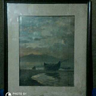 Amorsolo's  Sunset print by Mobilways in 1955 .Complements of Standard Vaccum Oil Com