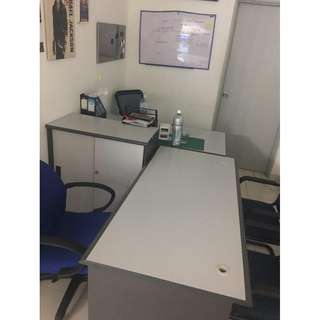 2 OFFICE TABLES WITH 1 CABINET