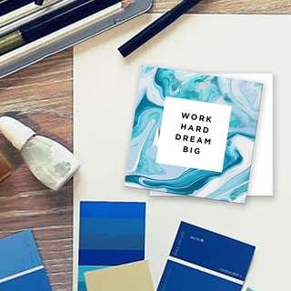 Work hard dream big tag quote bookmark card
