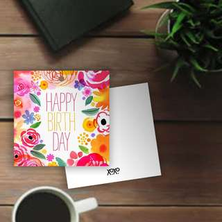 Happy Birthday celebrations Floral handtag card for gift wrapping