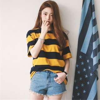 Korea ulzzang easy plus size striped crew neck short sleeve t-shirt