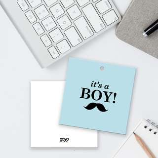It's a boy blue card gift tag for baby shower kids party