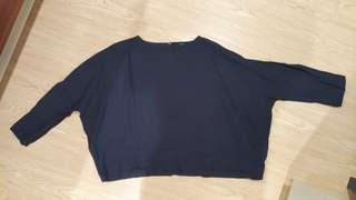 轉賣fish 魚飛 日本soi-e自然系深藍麻料罩衫上衣