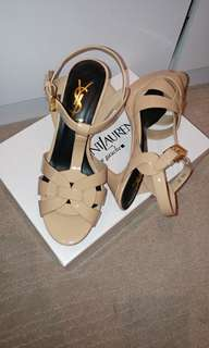 Ysl tribute heels in patent nude