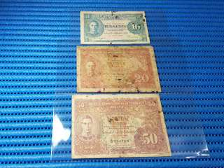 1941 Board of Commissioners of Currency Malaya 10, 20, and 50 Cents Note A/29 534766 Banknote Currency