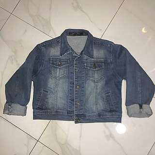 crop denim jacket jaket jeans
