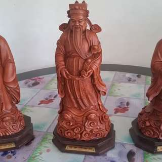 Rare Wood carved  Fu Lu Shou