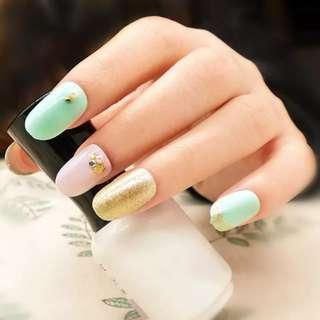 New Full Fake Nail Art Tips Glitter Lace Short Oval 3D Nail Tip With Rhinestone UV Gel Acrylic Fashion Nail 20PCS