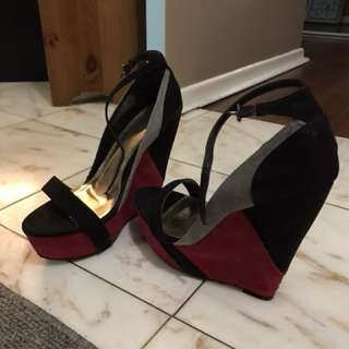 Black Pink Grey Wedges
