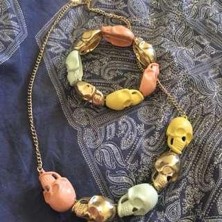 Skull necklace & bracelet