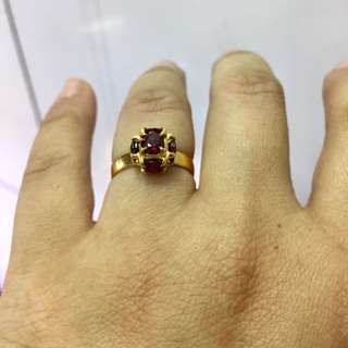 Natural Gernet Ring With 916 Gold