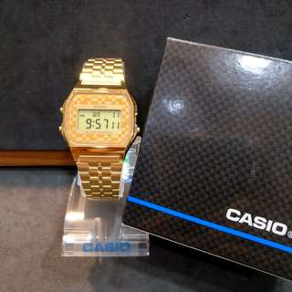 Brand New 100% Authentic Casio Vintage PVD Gold & Checkered Design Dial Digital Watch A159WGEA 9