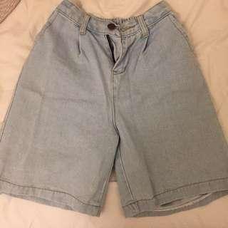 男孩風 牛仔寬版短褲 顯瘦