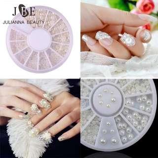 1 Box New Wheels 3D Nail Art Pearl 4 Size 2mm/3mm/4mm/5mm Clear Ceramic White Pearl Nail Tips Decorations Nail Art Rhinestones